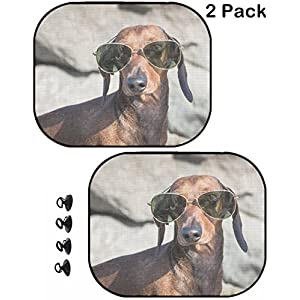MSD Car Sun Shade Protector Block Damaging UV Rays Sunlight Heat for All Vehicles, 2 Pack Image ID 35379153 Dachshund Dog with Sunglasses at sea Put in a Bag