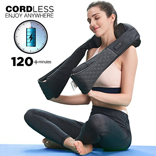 LiBa Cordless Shiatsu Neck Shoulder Back Massager Belt with Heat - Rechargeable Use for 2 Hours Unplugged, Portable Full Body Massage Relieving Pain Sore Muscles - Back Traditional Leather