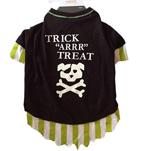 Pirate Dog Costume Trick Arrr Treat Pet Tee Halloween T-Shirt X-Small ()