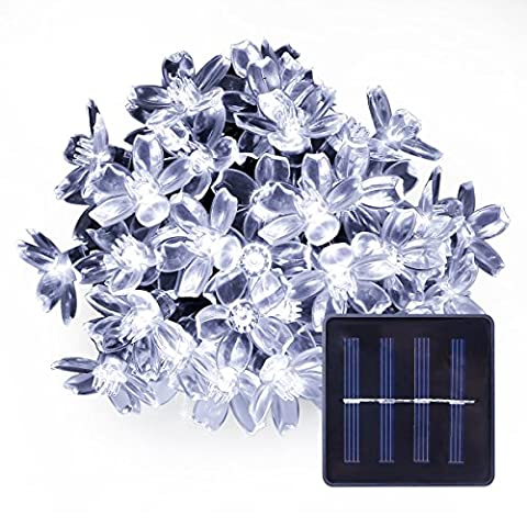 LE Christmas 50 LED Solar Flower Fairy String Lights, 23ft, Waterproof, Portable, Light Sensor, Outdoor Indoor Wedding Party Patio Holiday Celebration Festival Thanksgiving Decoration (Daylight White)