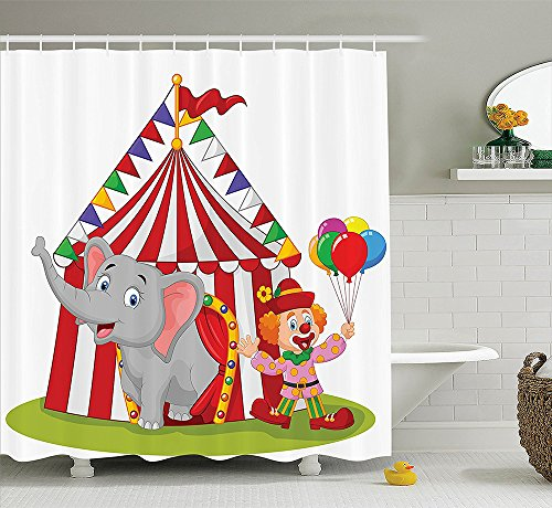 Circus Decor Collection Cartoon Cute Elephant Standing with Clown with Circus Tent Enjoyment Fun Fair Design Polyester Fabric Bathroom Shower Curtain Red White (How To Make A Scary Clown Costume)