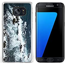 Luxlady Samsung Galaxy S7 Edge Clear case Soft TPU Rubber Silicone IMAGE ID: 34355569 Waves rocks stones on the Ocean from above View from lighthouse Matara Ceylon Sri Lanka
