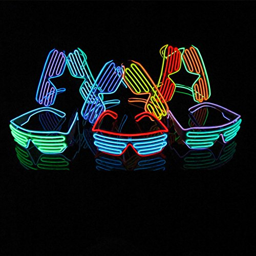 Aquat Voice Activated Light-up Illuminated Neon Electroluminescent El Wire LED Glasses Light Costumes Glasses