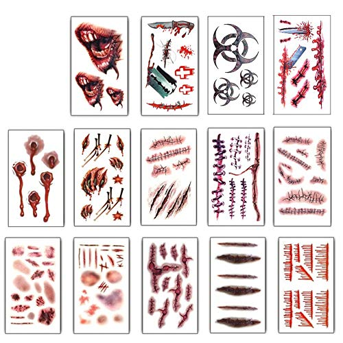14Pcs Halloween Zombie Fake Scars Temporary Tattoos Bloody Costume Makeup Scary Injury Sticker