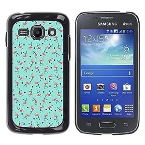 Caucho caso de Shell duro de la cubierta de accesorios de protección BY RAYDREAMMM - Samsung Galaxy Ace 3 GT-S7270 GT-S7275 GT-S7272 - Teal Green Pink Bird Pattern