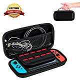 Albabara Nintendo Switch Game Traveler Carrying Case Portable & Protective Hard Case Shell Pouch for Switch Console & Accessories,10 Game Card Slots Storage Case - Black