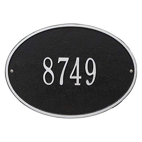 (Hawthorne Standard Oval Black/Silver Wall 1-Line Address Plaque )