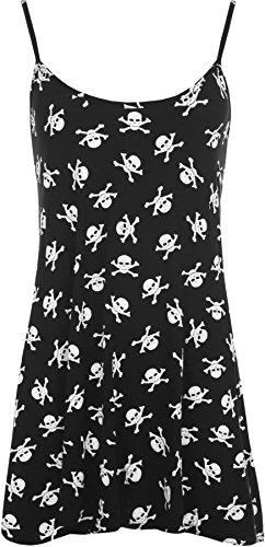 WearAll Women's New Skull Bones Pirate Print Sleeveless Flared Swing Vest Top - Black White - US 8-10 (UK (Pirate Apparel)
