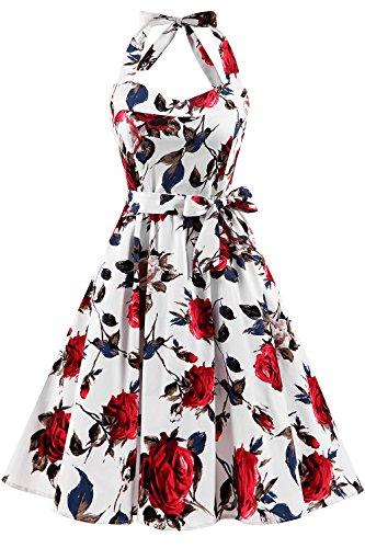 Topdress Women's Vintage Polka Audrey Dress 1950s Halter Retro Cocktail Dress White Flower XL