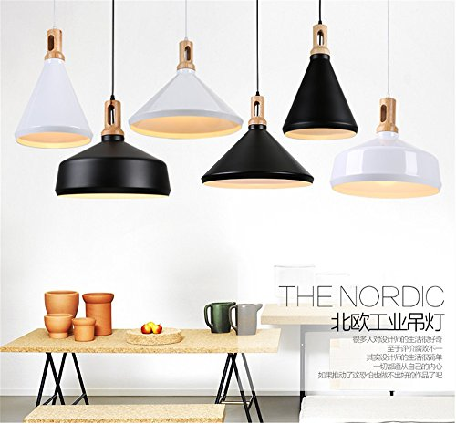 Scandinavian style modern minimalist cafe dining table bar bar creative personality office iron chandelier, black, 25x39cm by Baron W.H