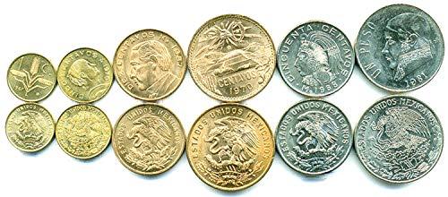 Silver Mexican Coin Set - Mexico 6 Coins Set 1970 UNC 1 CENTAVO - 1 PESO Old Collectible Coins for Your Coin Album, Coin Holders OR Coin Collection