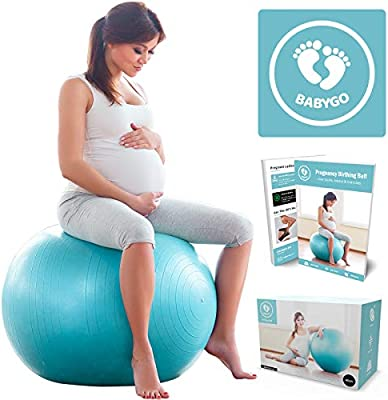 Babygo Birthing Ball Pregnancy Maternity Labour Yoga Ball With 40 Page Exercise Book Birth Recovery Plan For Weight Loss Anti Burst Eco Friendly Material 65cm Inc Pump Amazon Co Uk Sports Outdoors