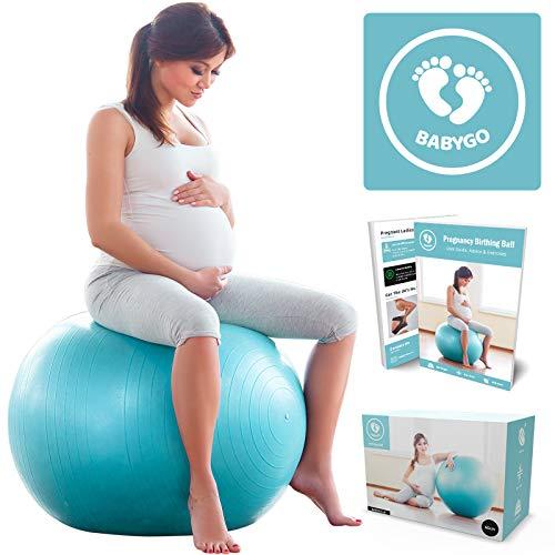 Comprar BABYGO Pelota de Pilates Embarazadas, Fitball, Ejercicio, Balón de Gimnasia Anti-Burst Parto Embarazo,Yoga, Fitness + Gratis Manual de Ejercicios