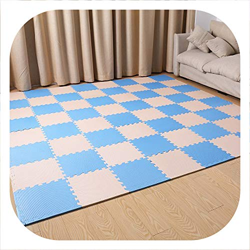 Fall In Love 9/18/24pcs Baby EVA Foam Puzzle Play Mat/Kids Rugs Carpet Interlocking Exercise Floor for Children Tiles with Edges 30301cm,Blue Beige,18pcs ()