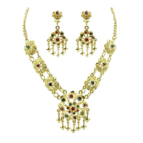 [Siwalai Thai Traditional Gold Plated Multicolor Crystals Necklace Earrings Jewelry Set 18 Inches] (Thai Dance Costume)
