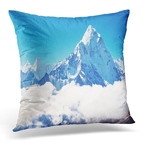 UPOOS Throw Pillow Cover Blue Himalaya Mountain Peak Everest Highest in the World National Park Nepal Snow Decorative Pillow Case Home Decor Square 16x16 Inches Pillowcase