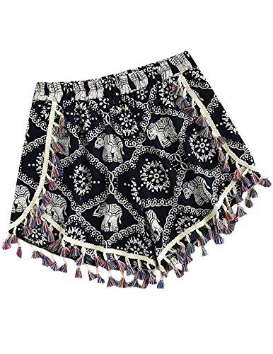Elephant Apparel - SweatyRocks Women's Vintage Printed Beach Pants High Waist Summer Boho Shorts Elephant Print