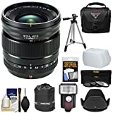 Fujifilm 16mm f/1.4 XF R WR Lens with Case + 3 Filters + Hood + Flash + Tripod + Kit for Fuji X-A2, X-E1, X-E2, X-M1, X-T1, X-T10, X-Pro1 Cameras