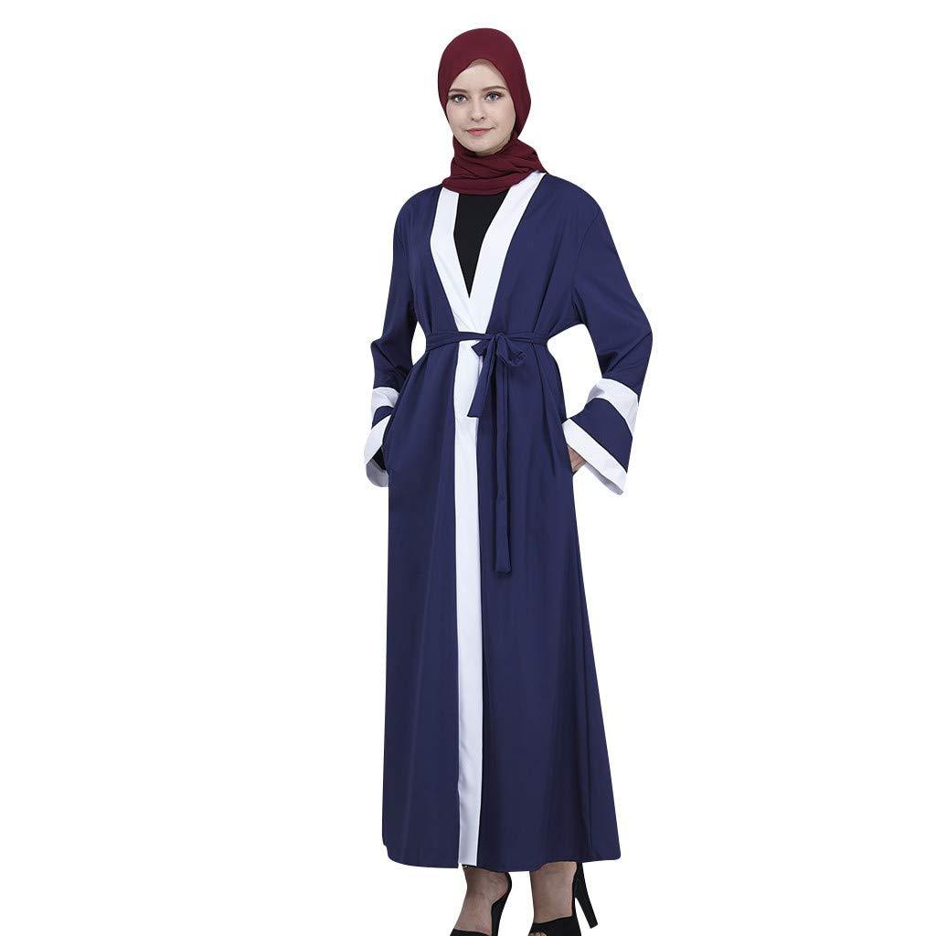 NPRADLA Large Falda Vestido Estilo Dama con Parte Delantera Abierta de Kaftan Abaya musulmán Jilbab Robe Maxi Vestido de Dama Partido Elegante Moda Armada ...