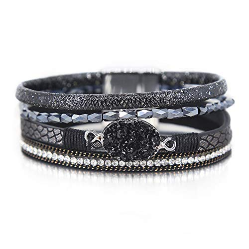 - Black Leather Wrap Bracelet Boho Jewelry Cuff Bracelet Crystal Bead Bracelet Rhinestone Handmade Bangle Braided Magnetic Clasp Bracelet Multi Strand Bracelet for Women Girl Men