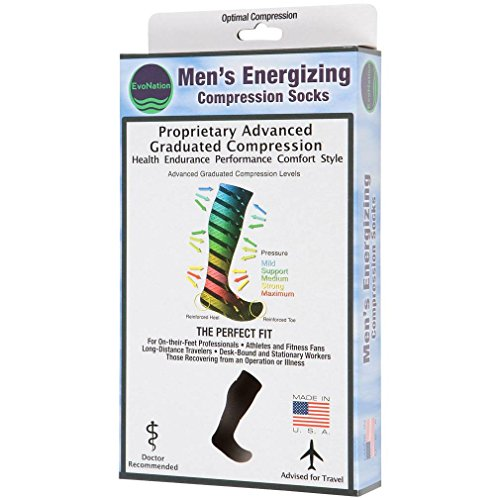 EvoNation Men's USA Made Graduated Compression Socks 30-40 mmHg Extra Firm Pressure Medical Quality Knee High Orthopedic Support Stockings Hose - Best Comfort Fit, Circulation, Travel (XL, Black) by EvoNation (Image #4)