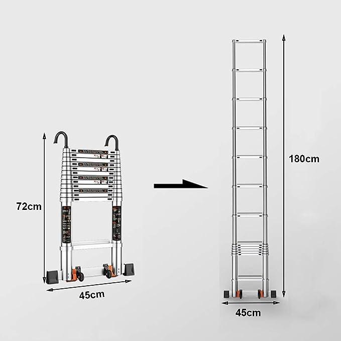 XSJZ Escaleras telescópicas Escalera Telescópica, Escalera Telescópica con Gruesa Aleación de Aluminio, Escalera de Elevación Portátil para Escalera Plegable Doméstica Escalera Plegable (Color : A): Amazon.es: Hogar