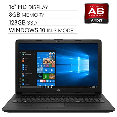 HP Pavilion 2019 15.6 HD LED Laptop Notebook Computer PC, 2-Core AMD A6 2.6GHz, 8GB DDR4 RAM, 128GB SSD, DVD, HDMI, RJ-45, USB 3.0, Bluetooth, Webcam, Wi-Fi, Windows 10 Home in S Mode (Best Laptops With Ssd Drives 2019)