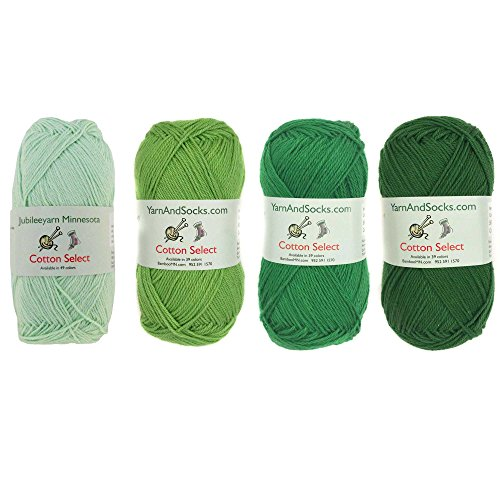 (Cotton Select Sport Weight Yarn Color Palette Pack - 100% Fine Cotton - Shades of Green - 4)