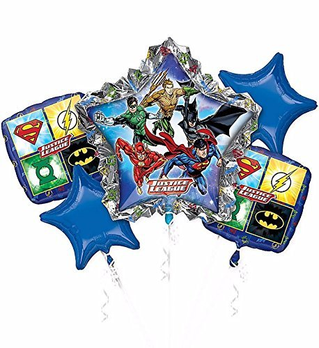 Marvel Justice League Bouquet Mylar Foil Balloon (5 per package) by Anagram (Bouquet Justice Balloon League)
