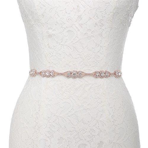 AW Crystal Wedding Belt Bridal Sash - Wedding Dress Belt for Bride with Ivory Satin Sash ()