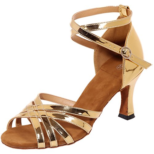 LOSLANDIFEN Womens Open Toe Criss Cross Strap Dance Shoes Weave Style Salsa Tango Latin Sandals Gold-c xhDnyJ