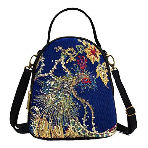 Women Canvas Shoulder Bag Sequins Peacock Embroidery Handbag Stylish Tote Bags Casual Cross-body Bag, Decorative Pendants (Blue 2) (Embroidery Peacock Designs)