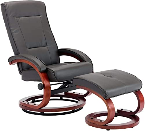 vidaXL Fauteuil Inclinable avec Repose Pied Chaise Inclinable de Salon Fauteuil de Bureau Fauteuil de Salon Chambre Gris Similicuir