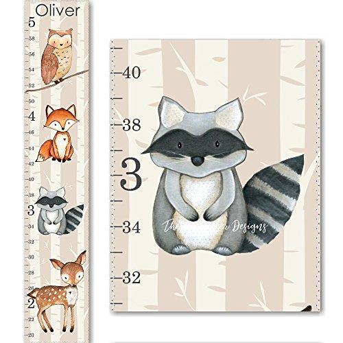 Woodland Fox Raccoon Owl and Deer Canvas Boys or Girls Growth Chart (Growth Woodland Canvas Chart)