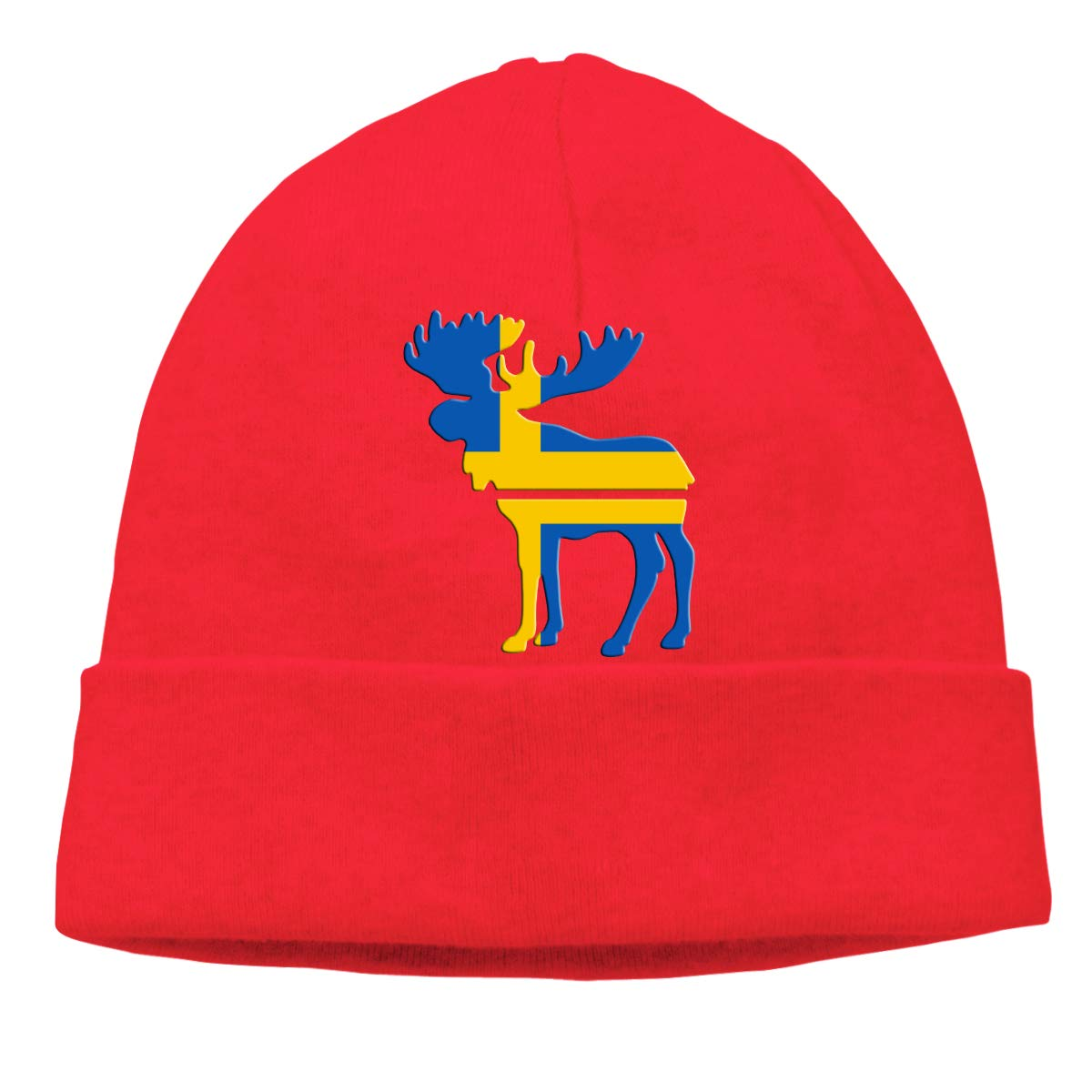 BBlooobow Unisex Moose Swedish Flag Soft Knit Beanie Caps