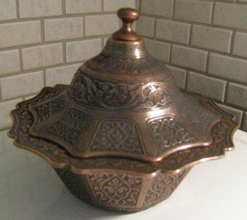 Ottoman Style Engraved Copper Sugar Turkish Delight Candy Bowl (Dark Copper)