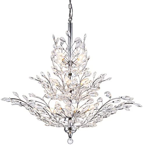Branch of Light 13 Light Chrome LED Chandelier with Clear European Crystals