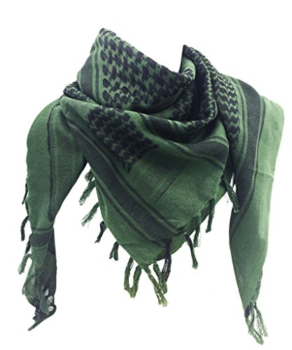 WOLMIK 100% Cotton Military Shemagh Tactical Desert Keffiyeh Head Neck Scarf Wrap in ArmyGreen (Shemagh Sand)