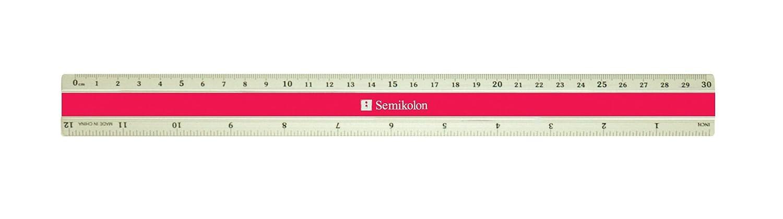 Semikolon 30cm Lineal aus Aluminium Ma/ße in cm und inch black