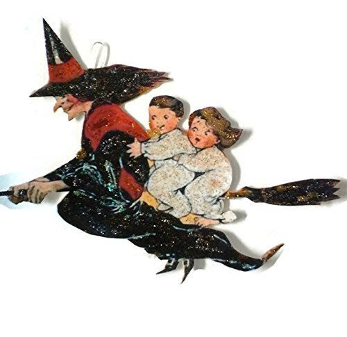 Halloween Ornament Decoration Scary Black Witch on Broom