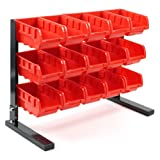 stackable trays tools - Stalwart 75-5186 Bench Top Parts Rack, 15 Piece