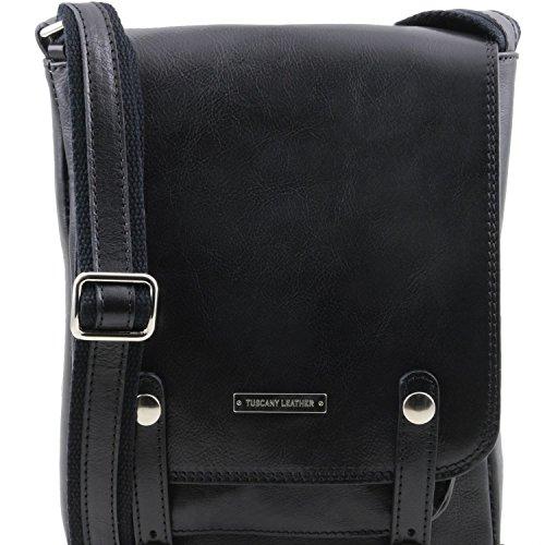 con para Piel y Bandolera Bolso Roby Negro Hebillas Leather Marrón Oscuro en Hombre Tuscany q4R0wZA