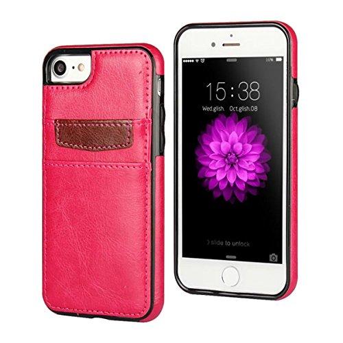 "MOONCASE iPhone 7 Hülle, Zebra-Textur PU Leder Spleiß mit Kartenfächer TPU Case für iPhone 7 (4.7"") Hotrosa"