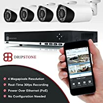 Dripstone 4 Megapixel (4MP) 8 Channel PoE NVR with 4 x 4MP 2.8-12mm Motorized Varcifocal Lens IP Bullet Cameras Easy Setup Network Video Recorder with Remote Viewing via Smartphone and Tablet