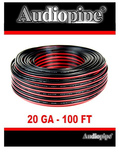 Audiopipe 100' Feet 20 GA Gauge Red Black 2 Conductor Speaker Wire Audio Cable - 100ft 2 Wire