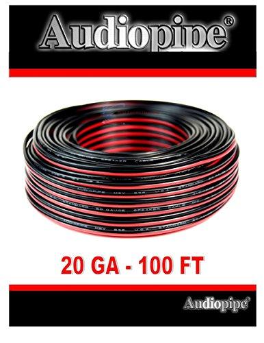 Audiopipe 100' Feet 20 GA Gauge Red Black 2 Conductor Speaker Wire Audio Cable (20 Gauge Stranded Wire)