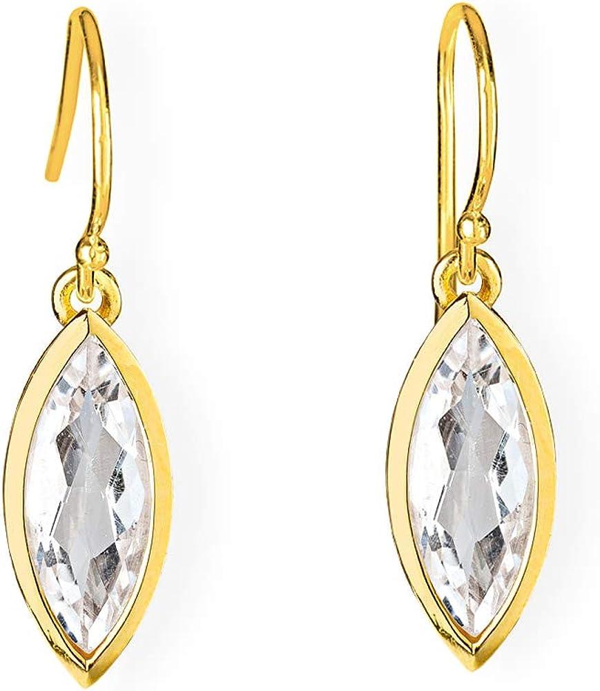 Drachenfels Navette Pendientes de plata auténtica bañados en oro con cristal de roca   Colección La Belle Epoque   Elegantes pendientes para mujer   D BEE 24-7/AGG