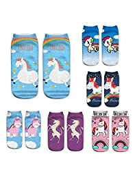 6 Pairs 3D Print Cute Unicorn Licorne Emoji Art Individual Couples Ankle Socks