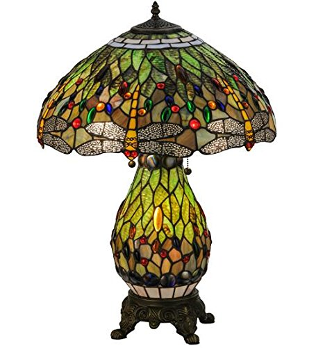 (Meyda Tiffany 118845 Hanginghead Dragonfly Lighted Base Table Lamp, 25