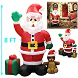 joiedomi 8 ft giant christmas self inflatable santa claus led light up blow up yard decoration